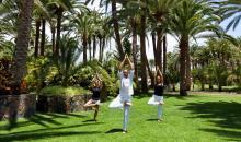 Yogagruppe die im Gartenbereich Übungen ausführt