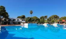 Blick auf den Pool und die Gartenanlage