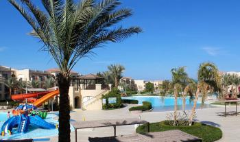 Blick auf die von Palmen gesäumte Pool-Anlage