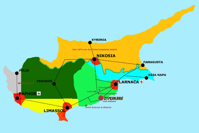 Radkarte Zyperns