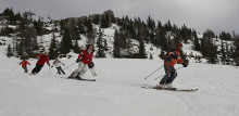 Skifaherer Gruppe bei der Abfahrt