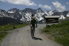 Biker mit Alpen im Hintergrund