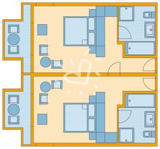 Familien Zimmer mit Verbindungstür