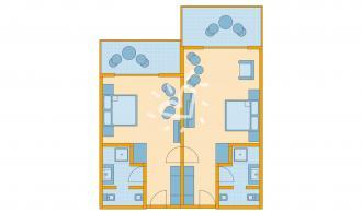 Familienzimmer Superior mit Verbindungstür und Poolblick