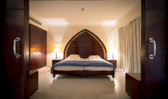 Blick auf das Bett