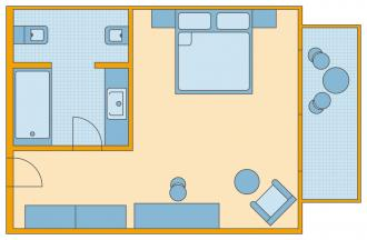 Doppelzimmer/ Einzelzimmer mit Meerblick
