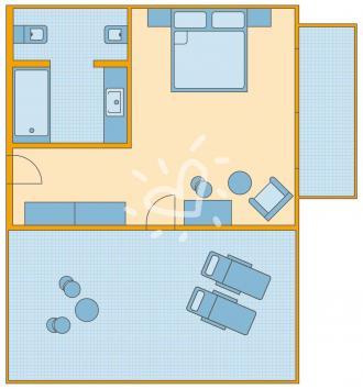 Doppelzimmer mit Dachterrasse