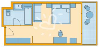 Doppelzimmer/ Einzelzimmer im Haupthaus mit Meerblick/ Poolblick