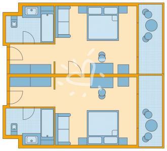 Familienzimmer mit Verbindungstür im Haupthaus mit Meerblick/ Poolblick