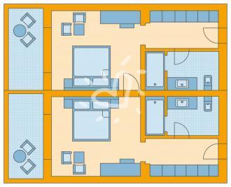 Familienzimmer: 2 Zimmer mit Verbindungstür