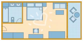 Hills Doppelzimmer mit Meerblick