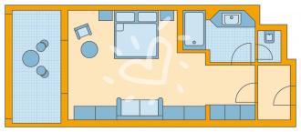 Doppelzimmer seitlicher Meerblick