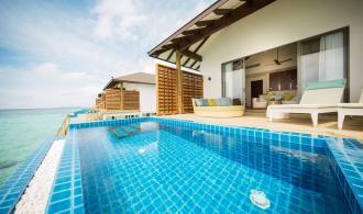 Wasserbungalow mit Pool
